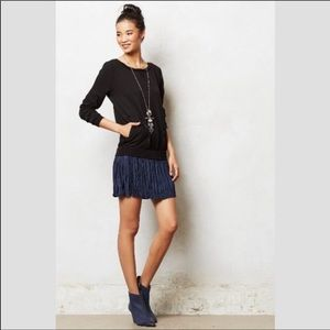 Anthropologie Bordeaux Black Sweatshirt Dress
